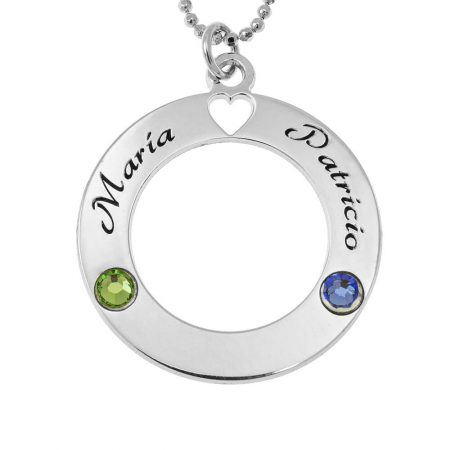 Collier Cercle d'Amour avec Pierres de Naissance