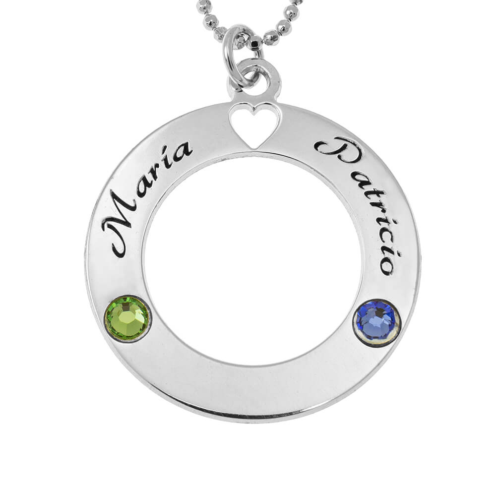 Circle of Love Collier with Pierres de naissance silver