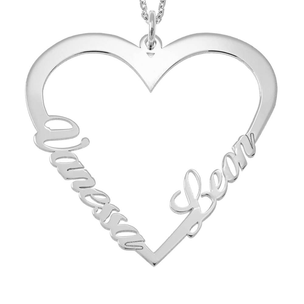 Couple Cœur prénom Collier silver