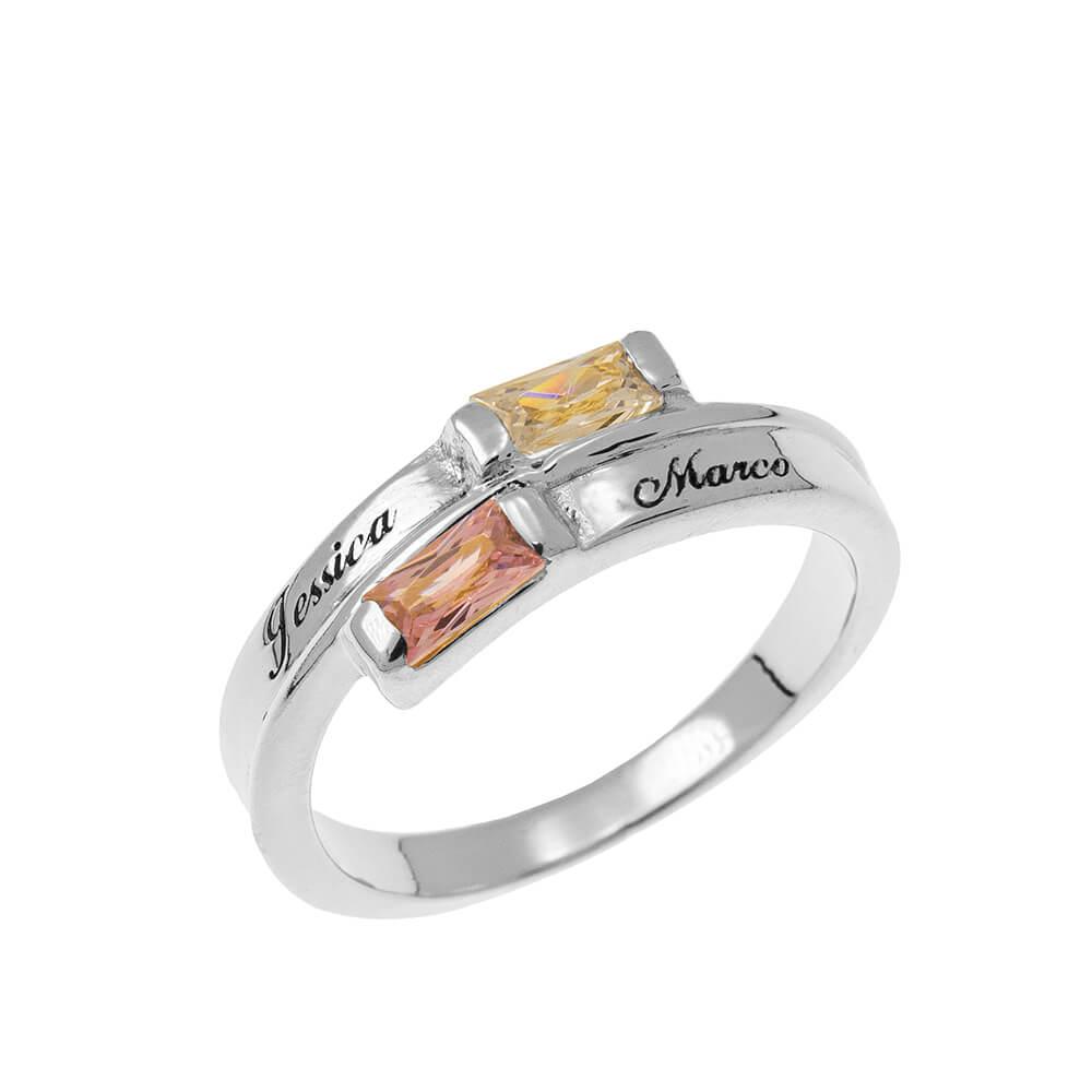 Custom Wrap Promise Bague with Pierres de naissance silver