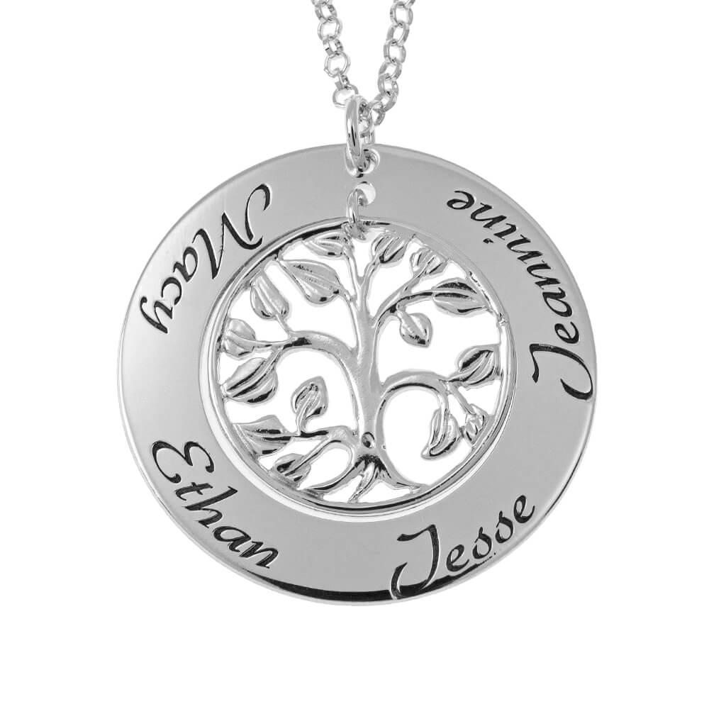 Cut Out Family Tree Prénoms Collier silver