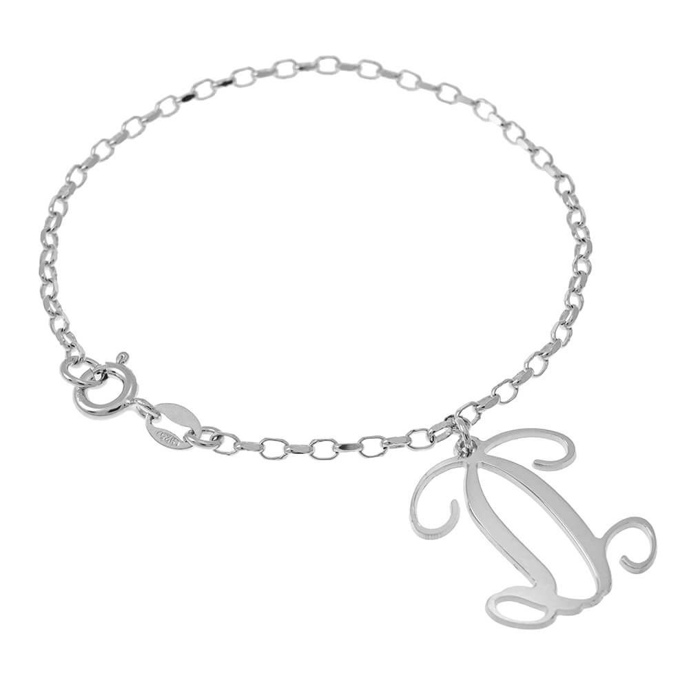 Dangling Monogram Bracelet silver