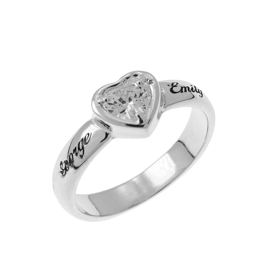 Gemstone Cœur Promise Bague with Gravure silver