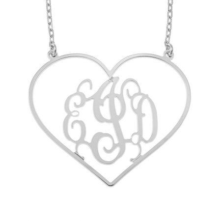 Collier Monogramme en Forme de Cœur