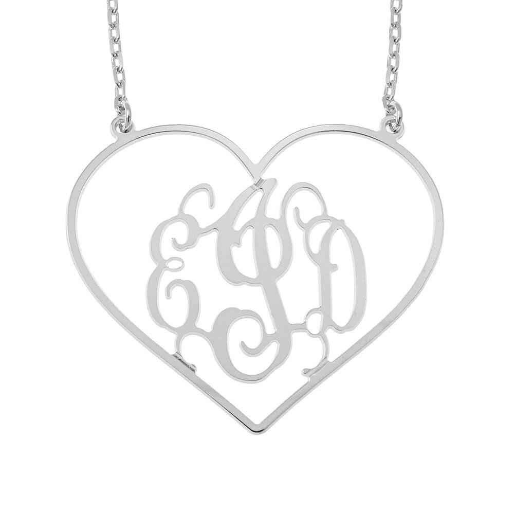 Cœur Shape Monogram Collier silver