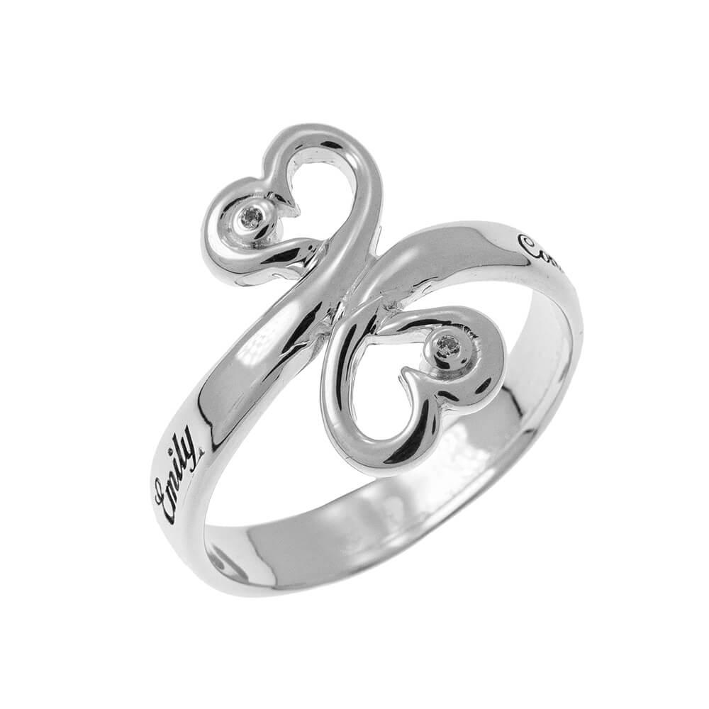Cœur to Cœur Promise Bague with Pierres de naissance silver 1