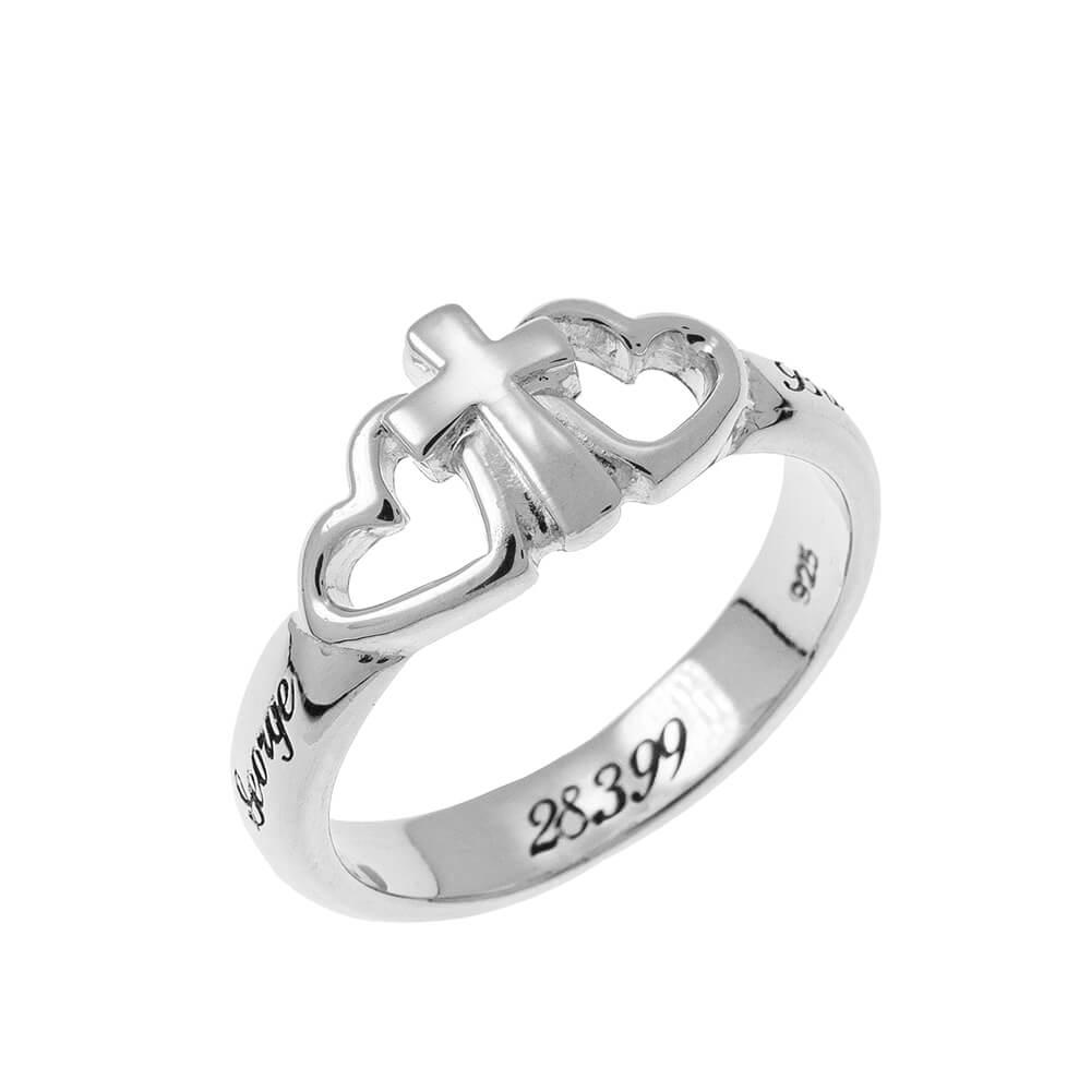 Cœurs and Cross Promise Bague silver