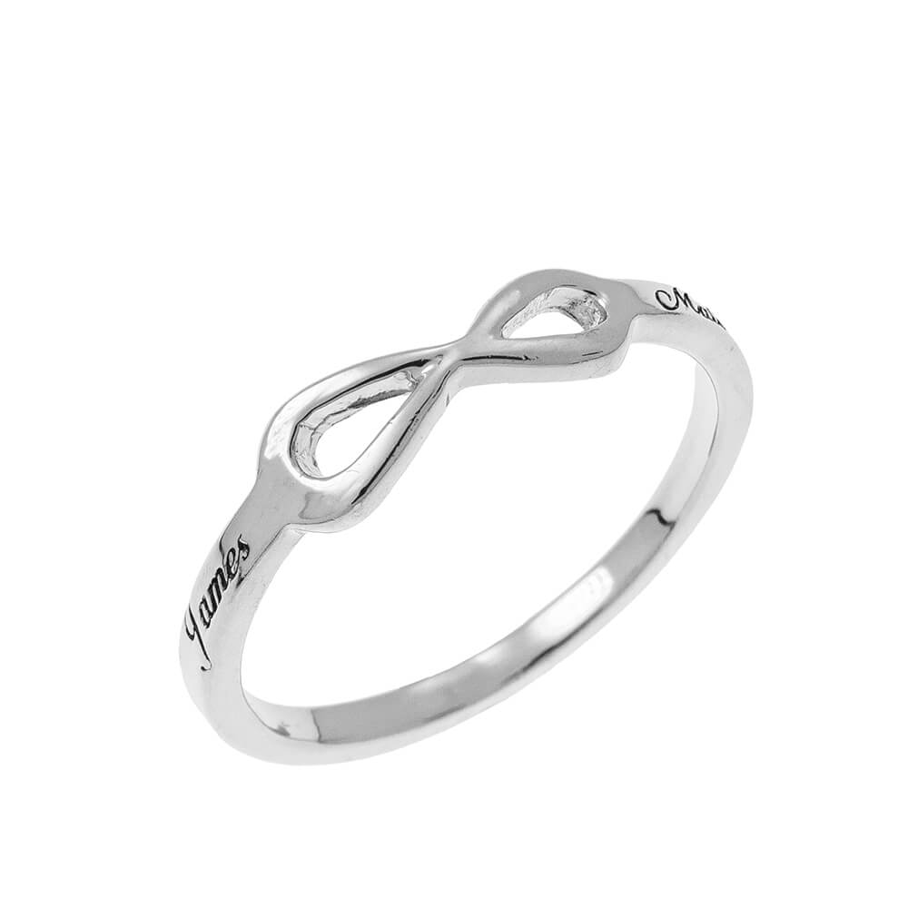 Infinity Love Bague with Gravure silver