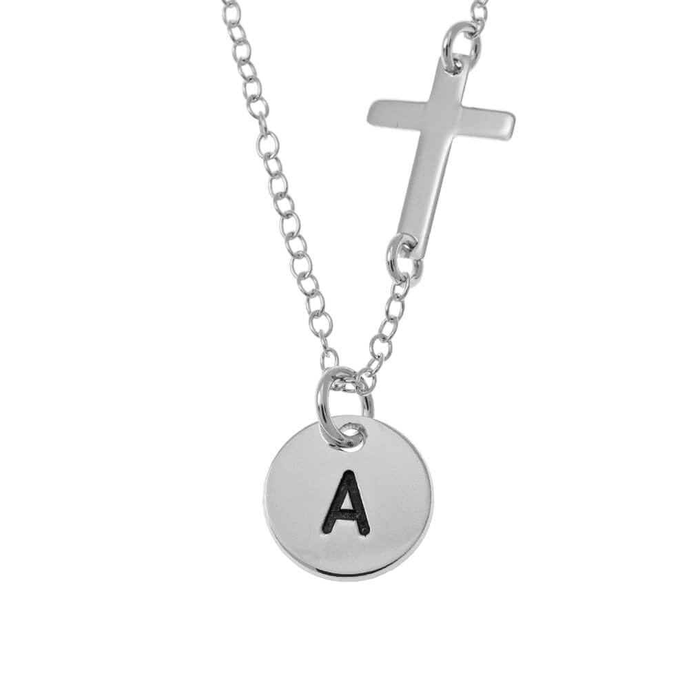 Initial Disqueand Cross Collier silver