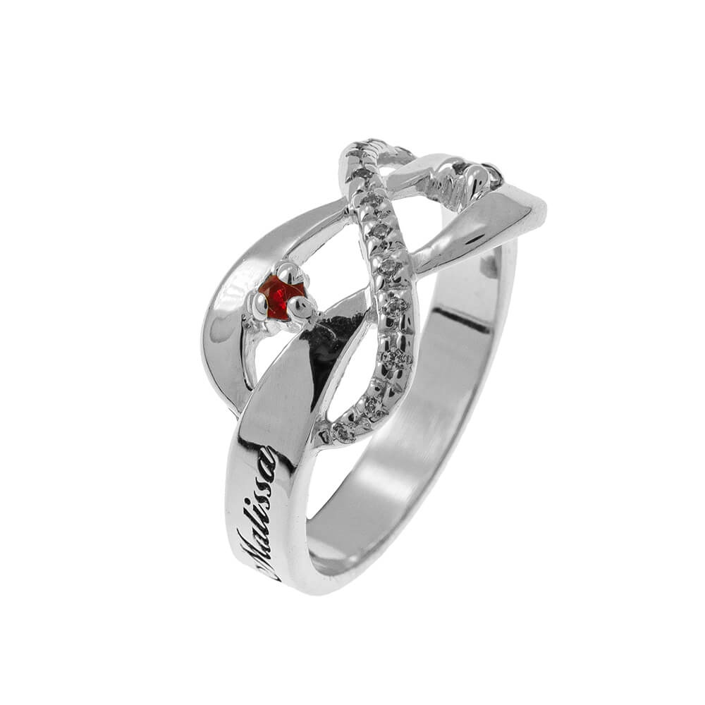 Inlay Infinity Bague with Pierres de naissance silver 2