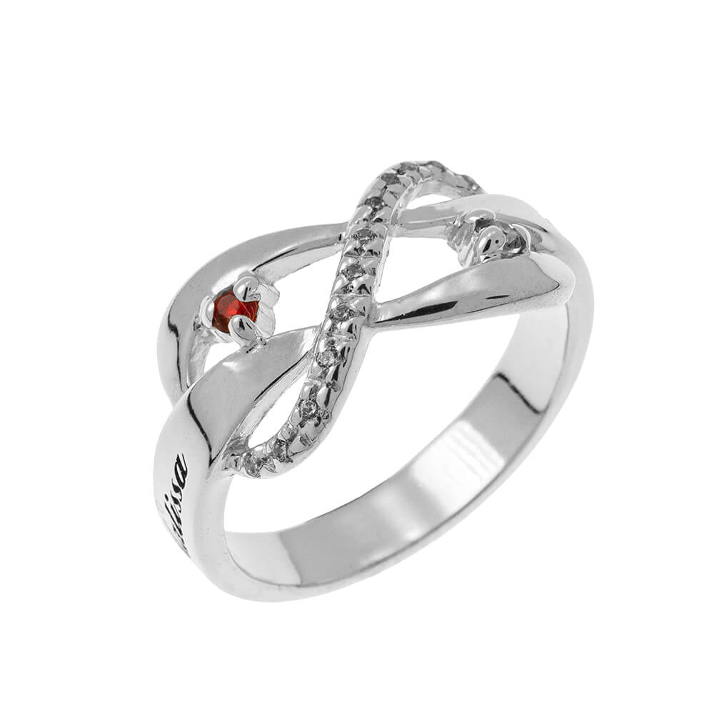 Inlay Infinity Bague with Pierres de naissance silver
