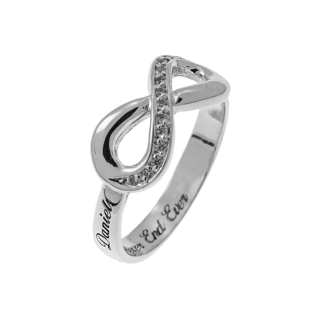 Inlay Infinity Bague with Gravure silver 2