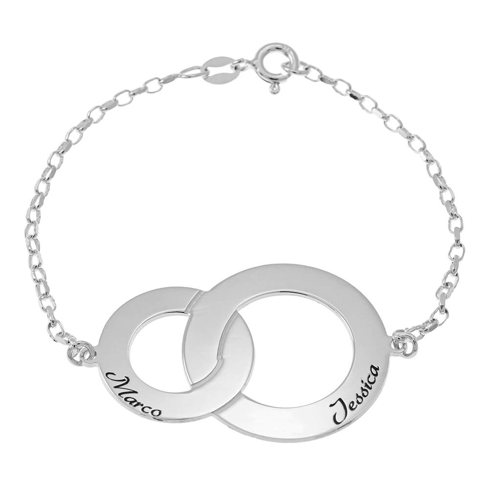 Interlocking Circles Bracelet with Prénoms silver