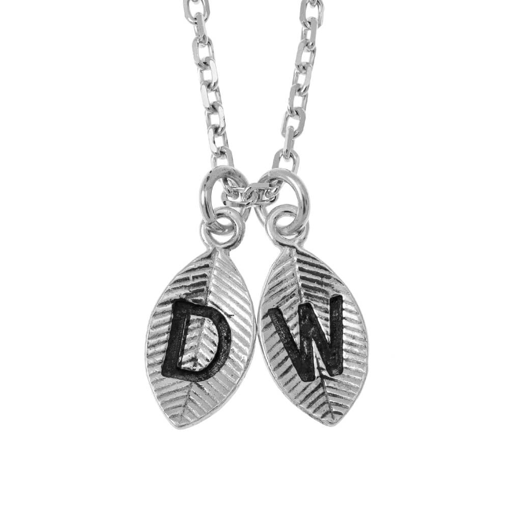 Leaves Initial Breloque Collier silver