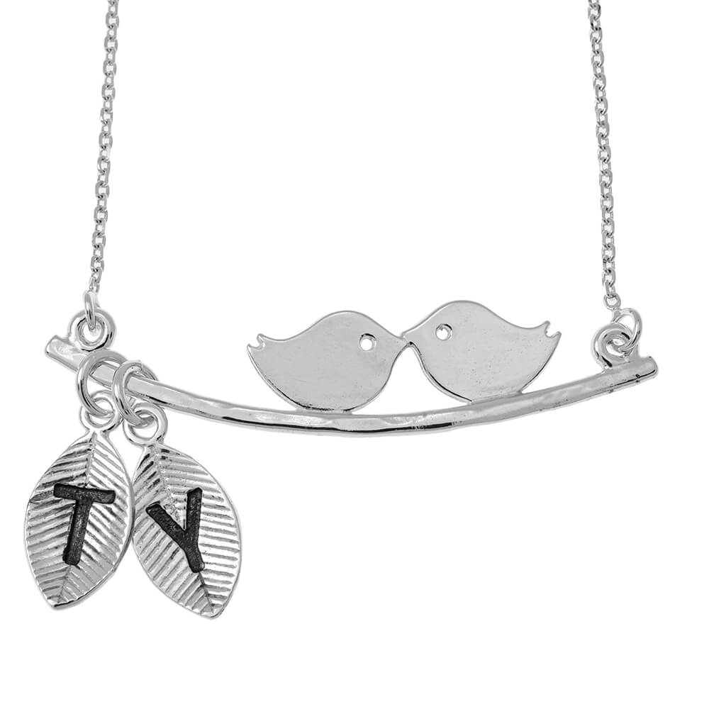 Love Birds Collier With Leaves silver