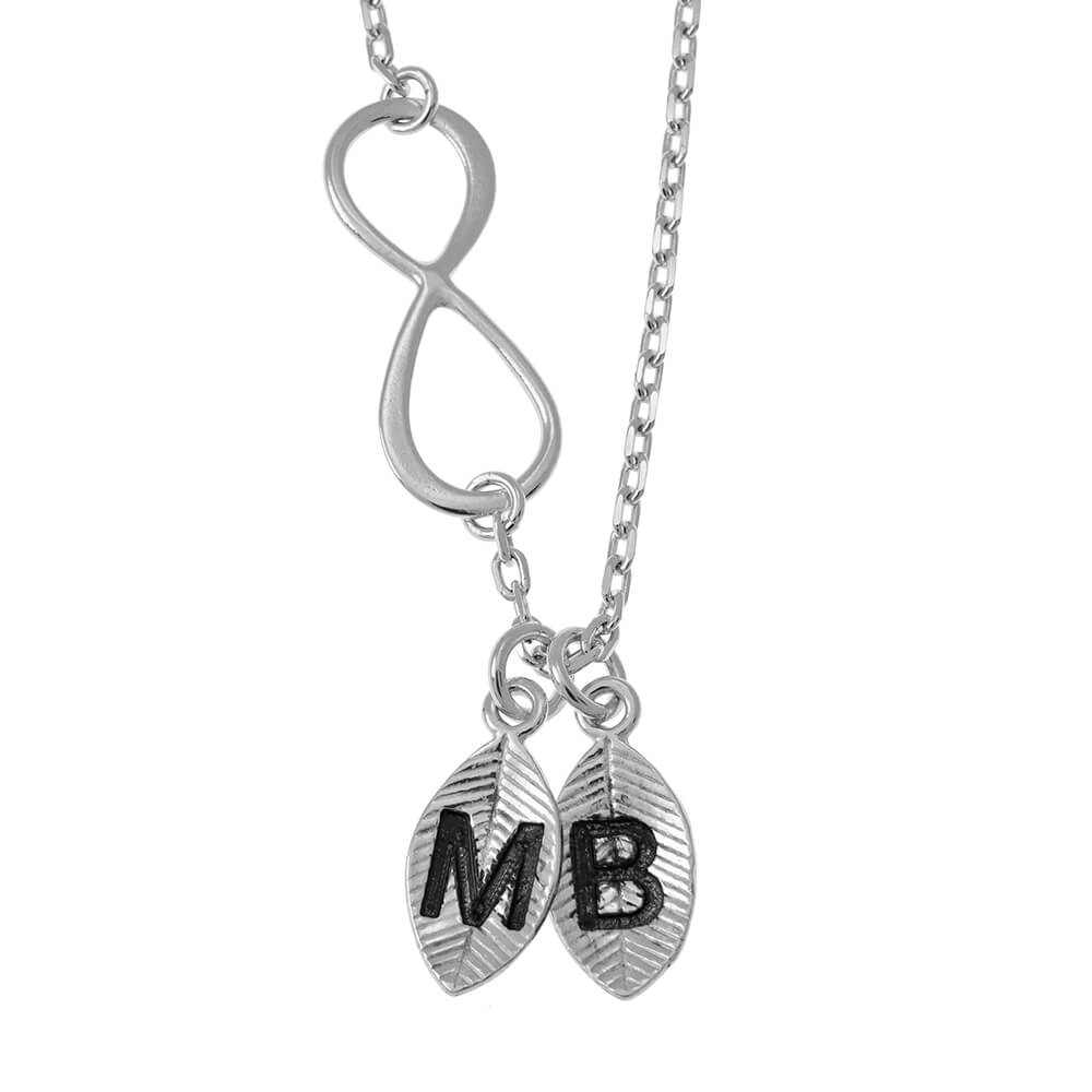 Lovers Infinity Collier with Leaves silver