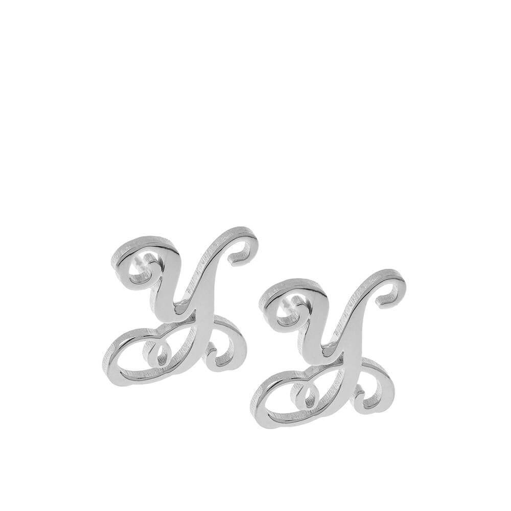 Monogram Stud Boucles silver