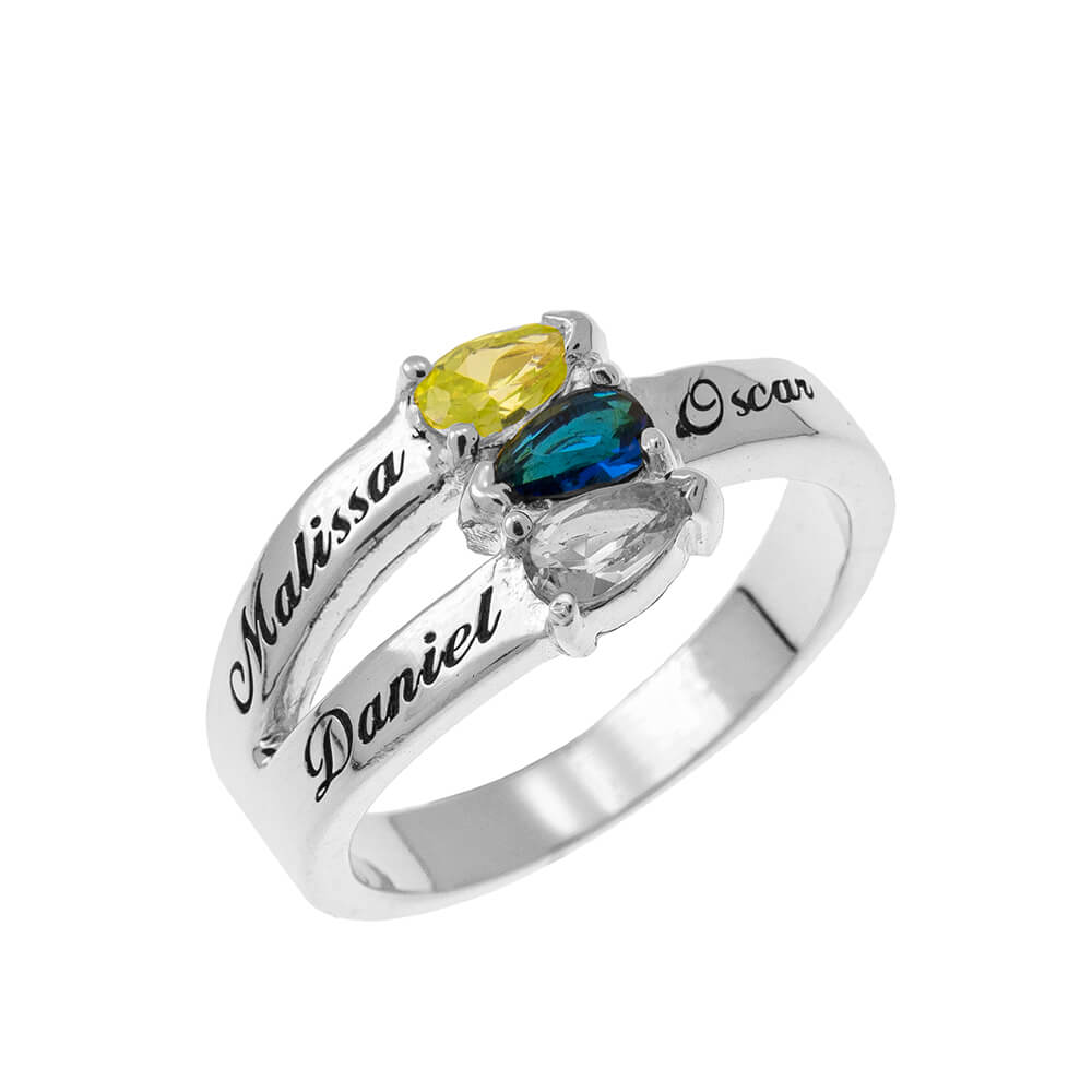 Mothers' Bague with Three Pierres de naissance silver