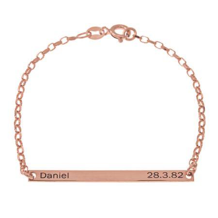 Bracelet avec Plaque de Prénom et de Date