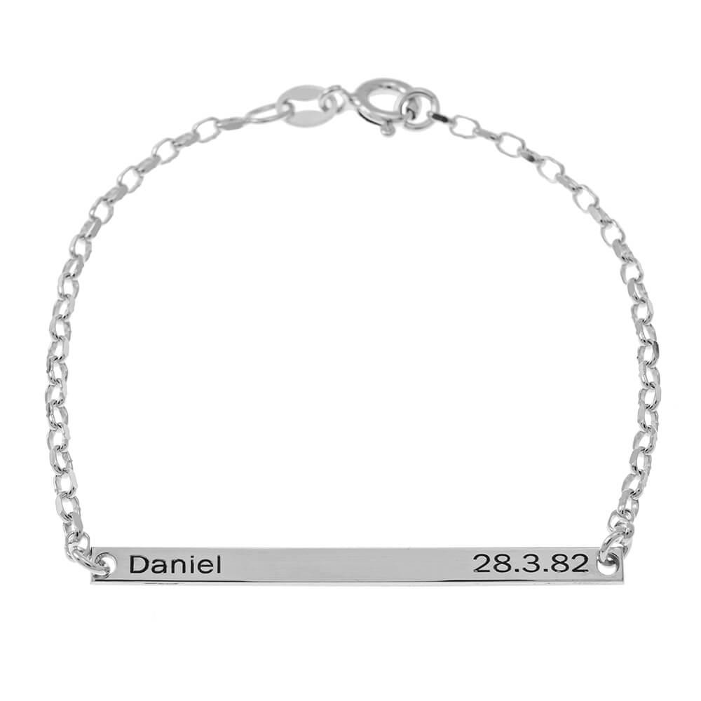 prénom and Date Plate Bracelet silver