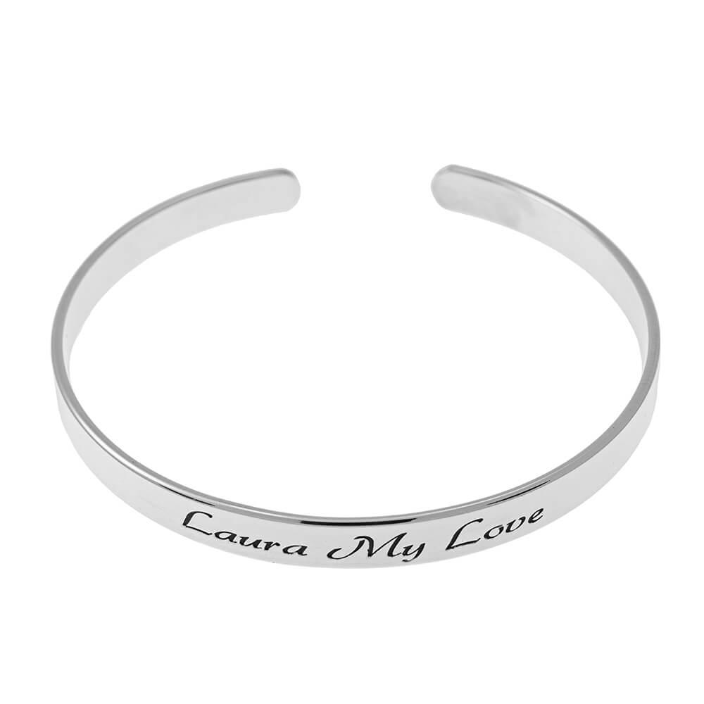 Open prénom Bangle Bracelet silver