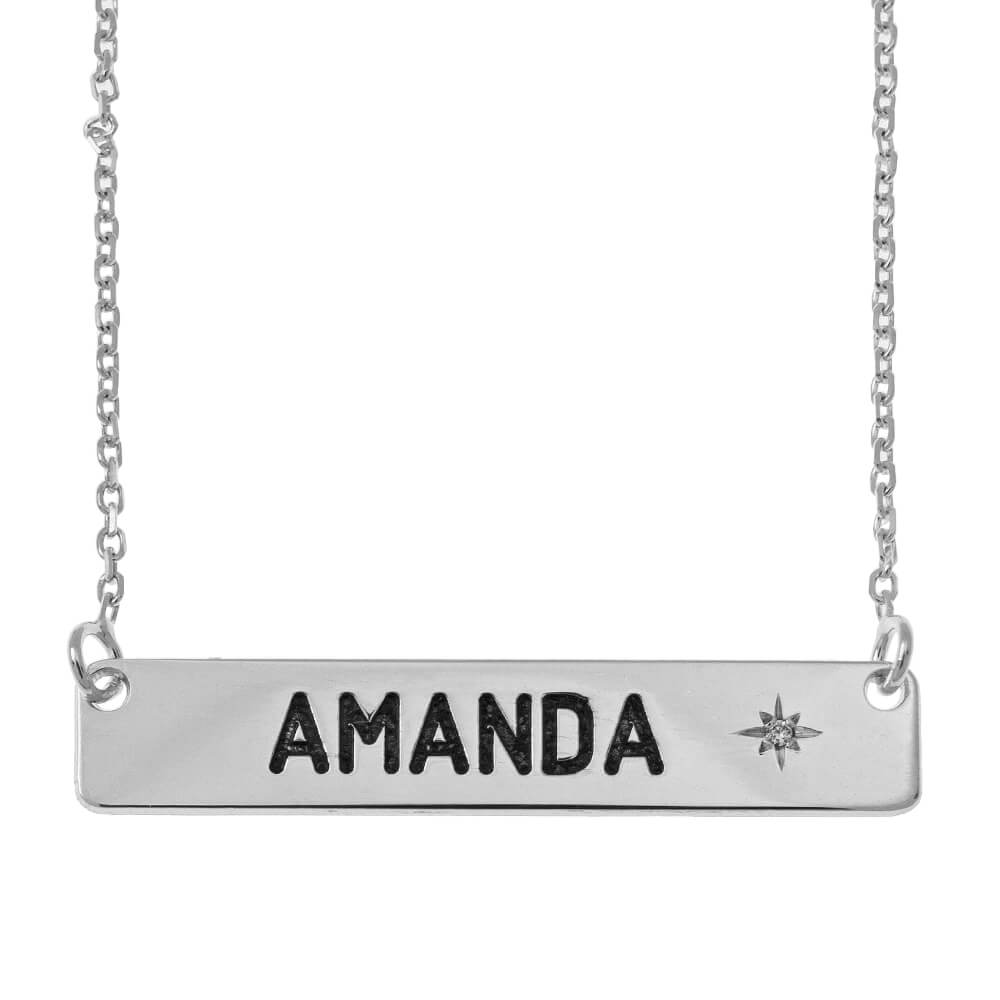 Personalized Barre Collier with  Pierre de Naissance silver
