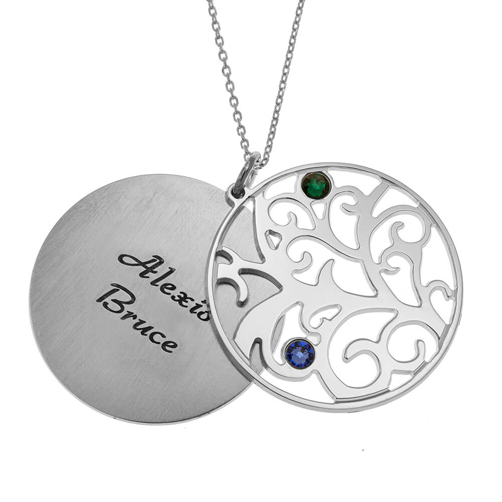 Personalized Double Layer Family Tree Collier 2 names silver