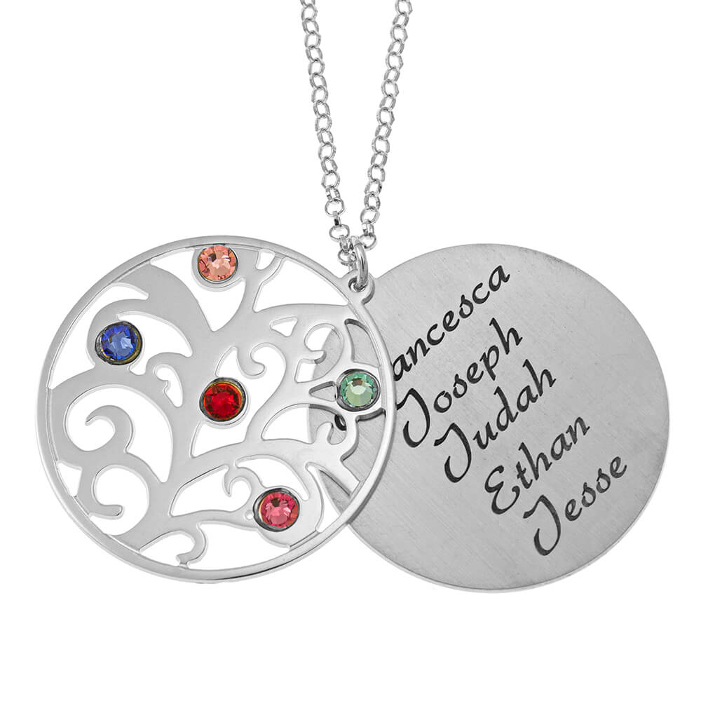 Personalized Double Layer Family Tree Collier silver 1