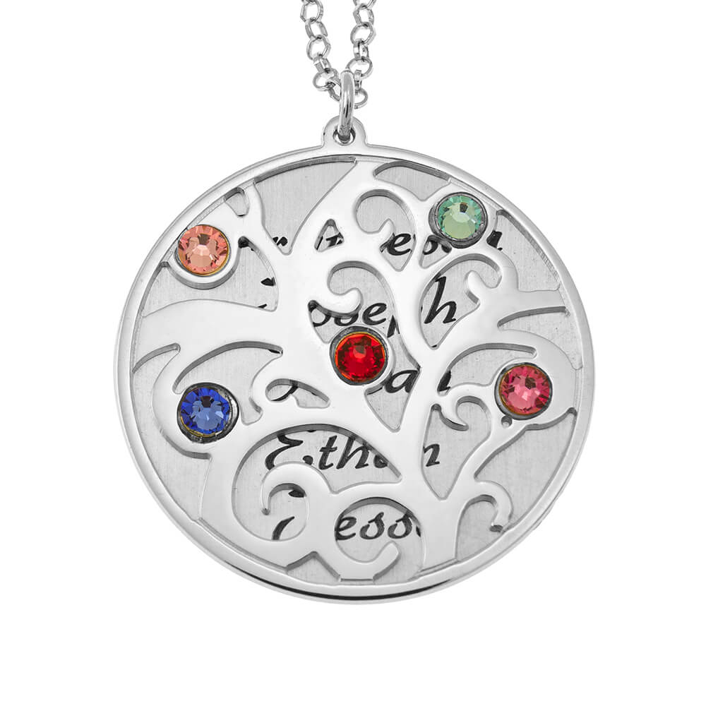 Personalized Double Layer Family Tree Collier silver