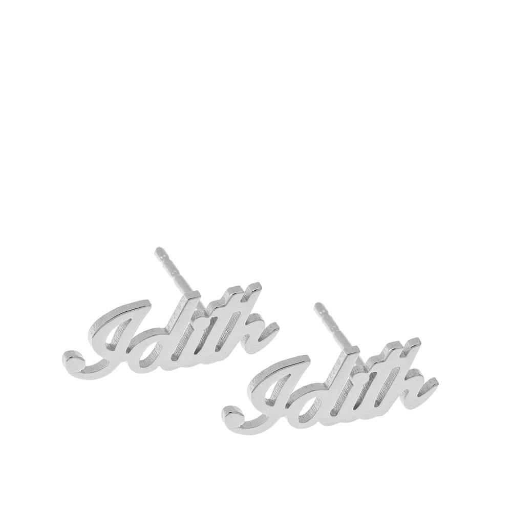 Personalized prénom Stud Boucles silver