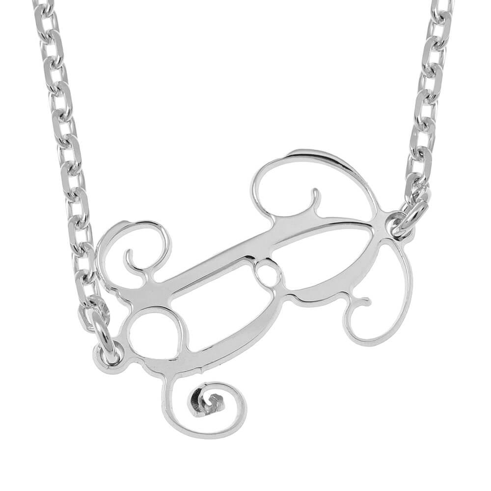 Sideways Initial Monogram Collier silver