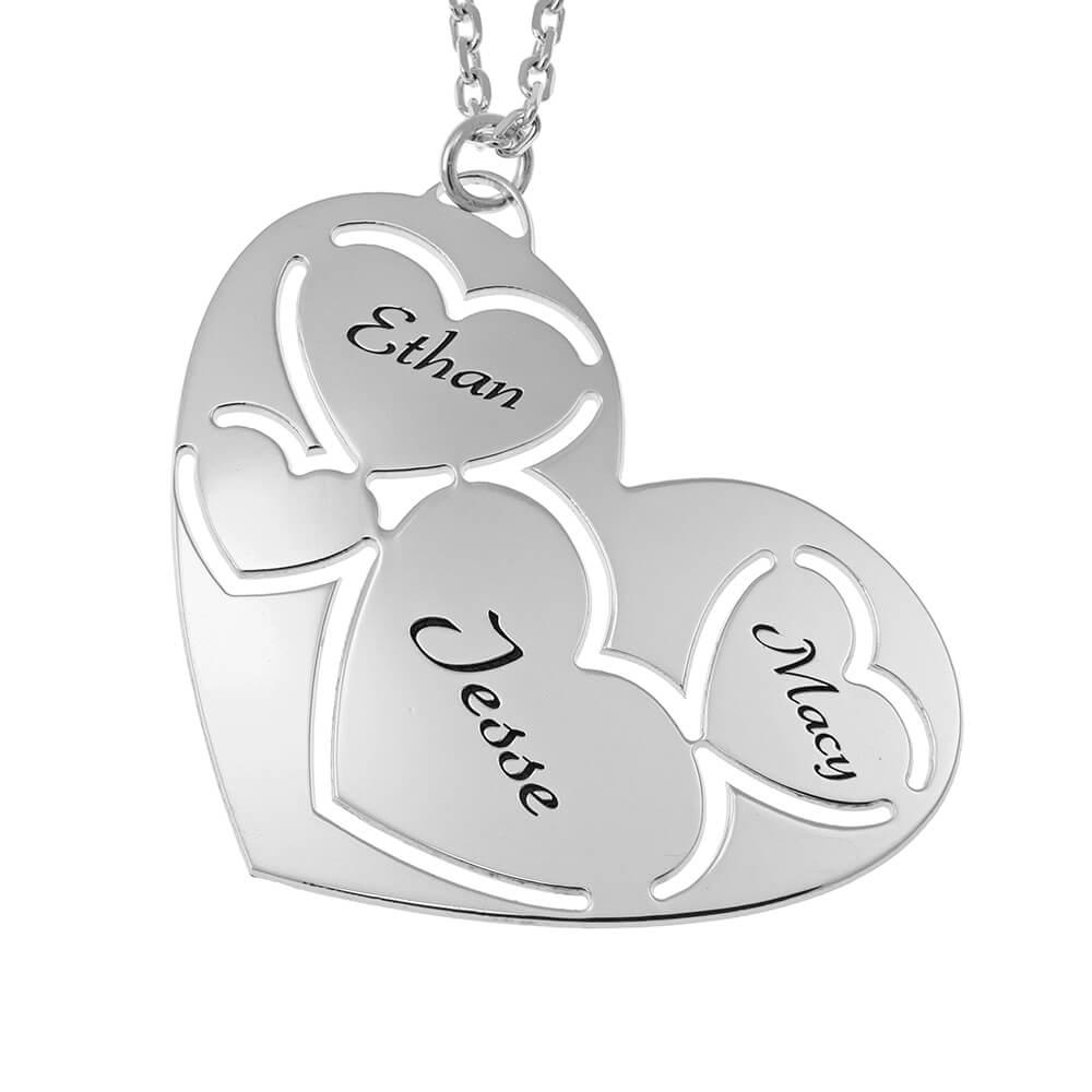 Three Prénoms in Cœur Collier silver