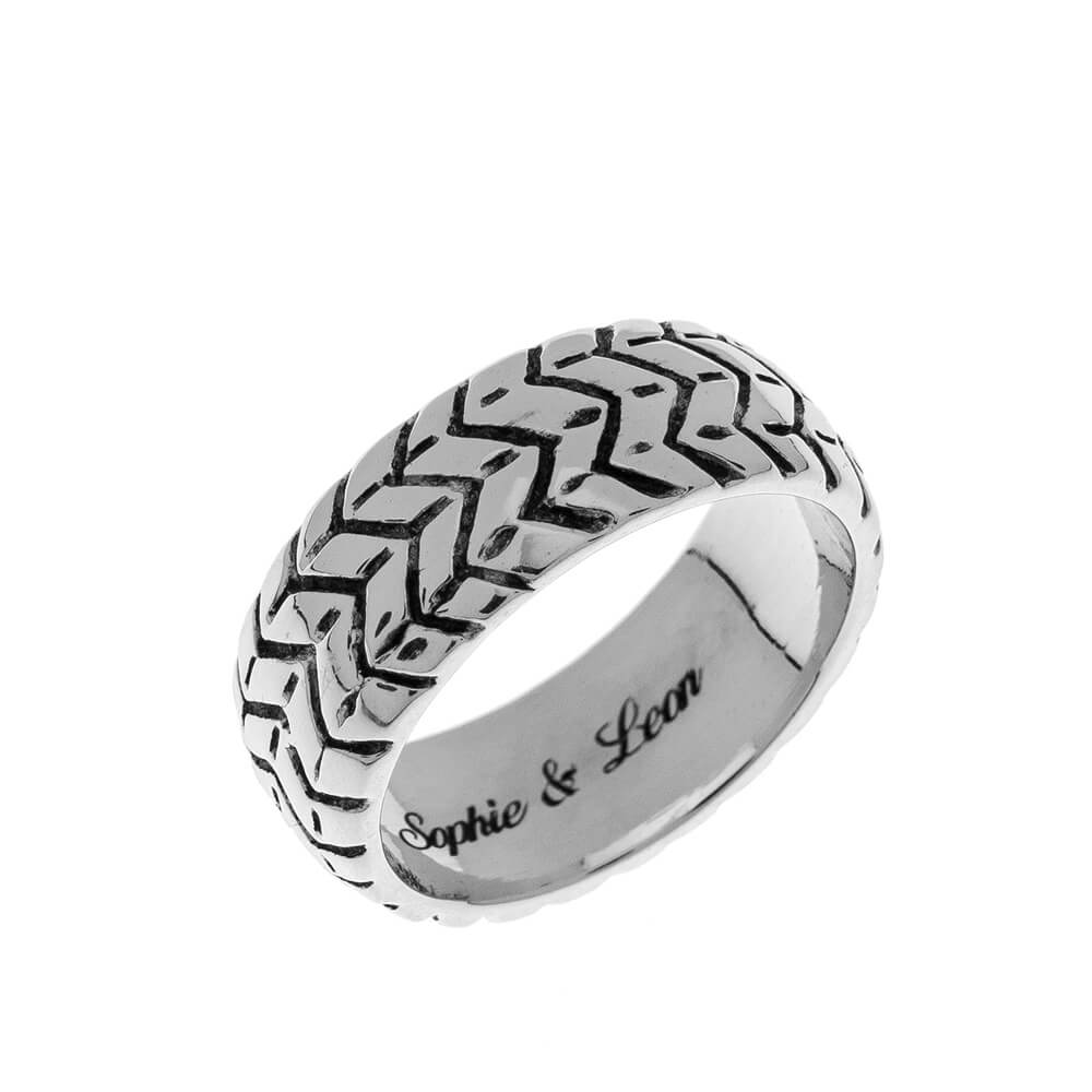 Tyre Engraved Bague silver