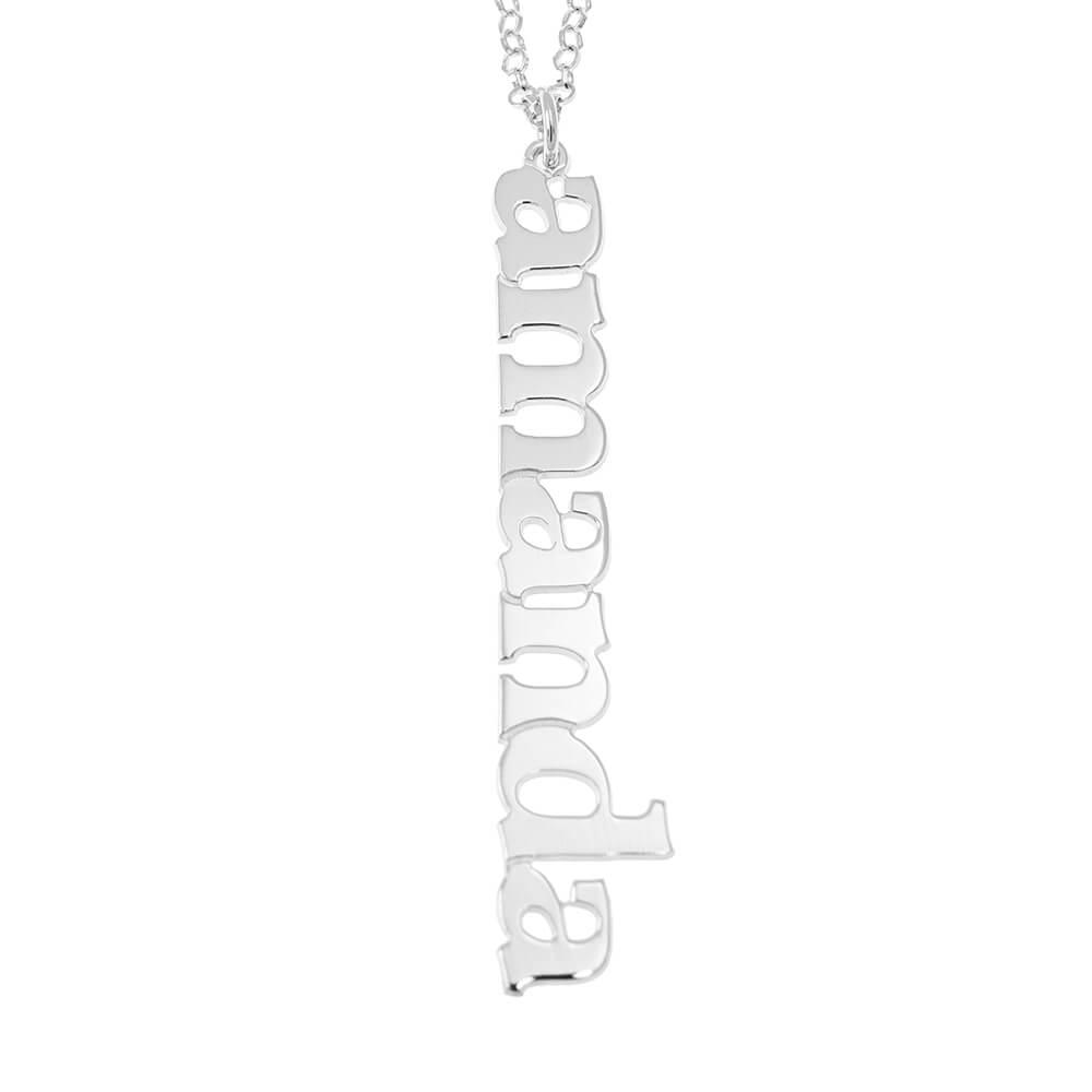 Vertical Design prénom Collier silver