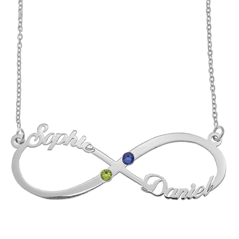 Infinity Cut Out prénom Collier with Pierres de naissance silver
