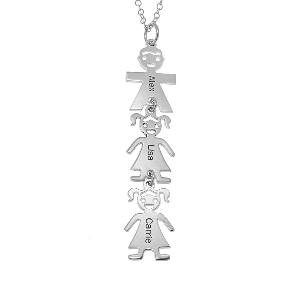 Vertical Mother's Collier with Kids silver