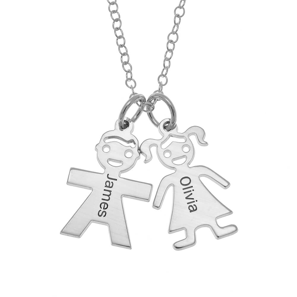 Horizontal Mother's Collier with Kids silver
