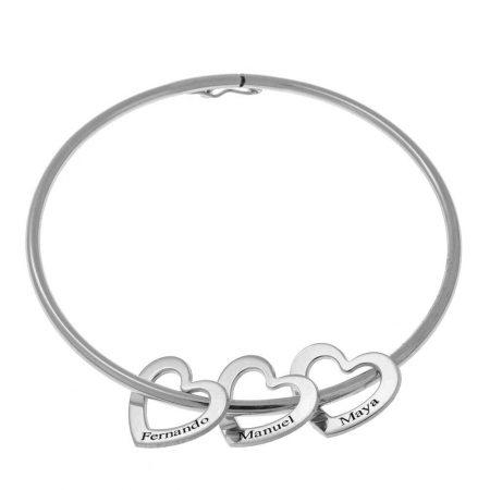 Bracelet Bangle avec Breloques en Forme de Cœur