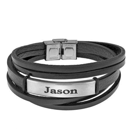 Bracelet en Cuir Noir avec Gravure