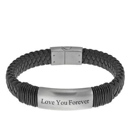 Bracelet en Cuir Noir Gravé pour Hommes