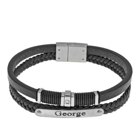 Bracelet en Couches et Cuir Noir avec Incrustation