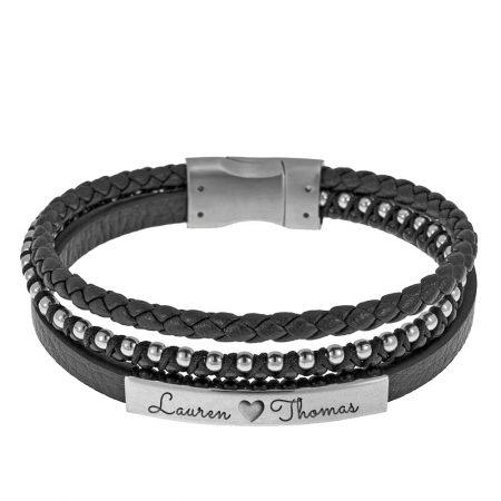 Bracelet en Cuir Tressé pour Hommes