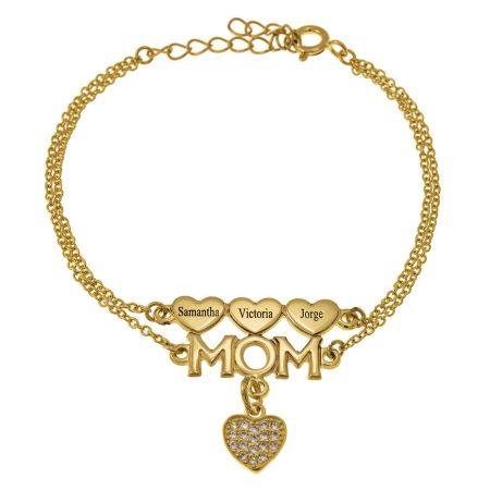 Bracelet Maman Double Chaîne avec Cœurs et Cœur Encarté