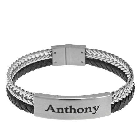 Bracelet en Acier Inoxydable et Cuir pour Hommes