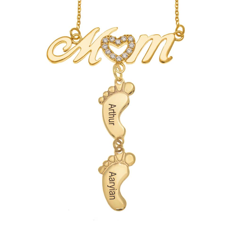 Swarovski Inlay Mom Necklace With Baby Feet gold