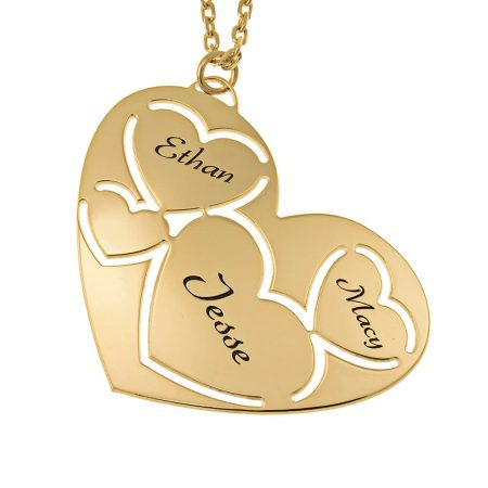 Collier à Trois Prénoms en Forme de Cœur