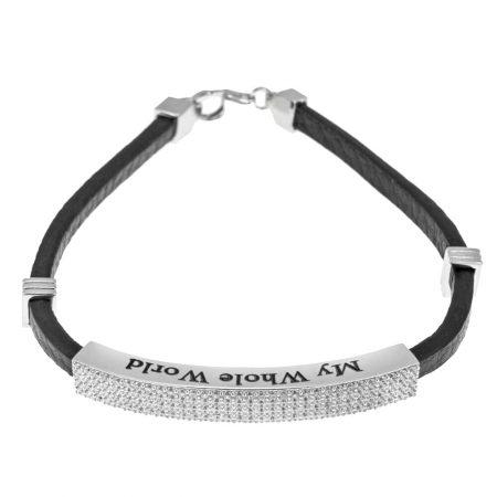 Bracelet en Cuir Blanc et Zircon Incrusté pour Hommes