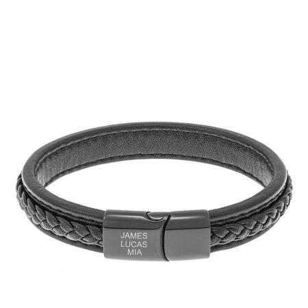 Bracelet en Cuir Noir pour Hommes avec Gravures Blanches