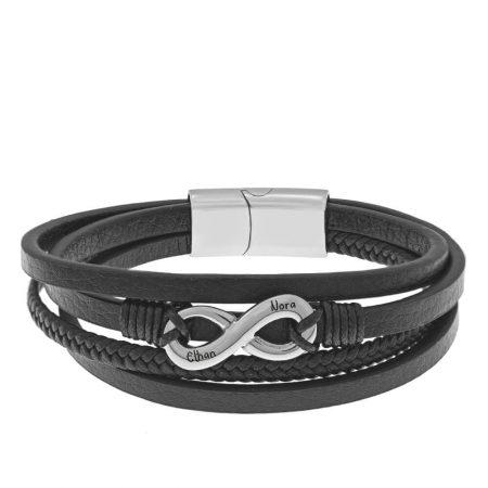 Bracelet Infini en Cuir Noir et Acier Inoxydable pour Hommes