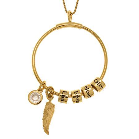 Collier Cercle avec Perles Porte-Prénom et Breloque en Cristal